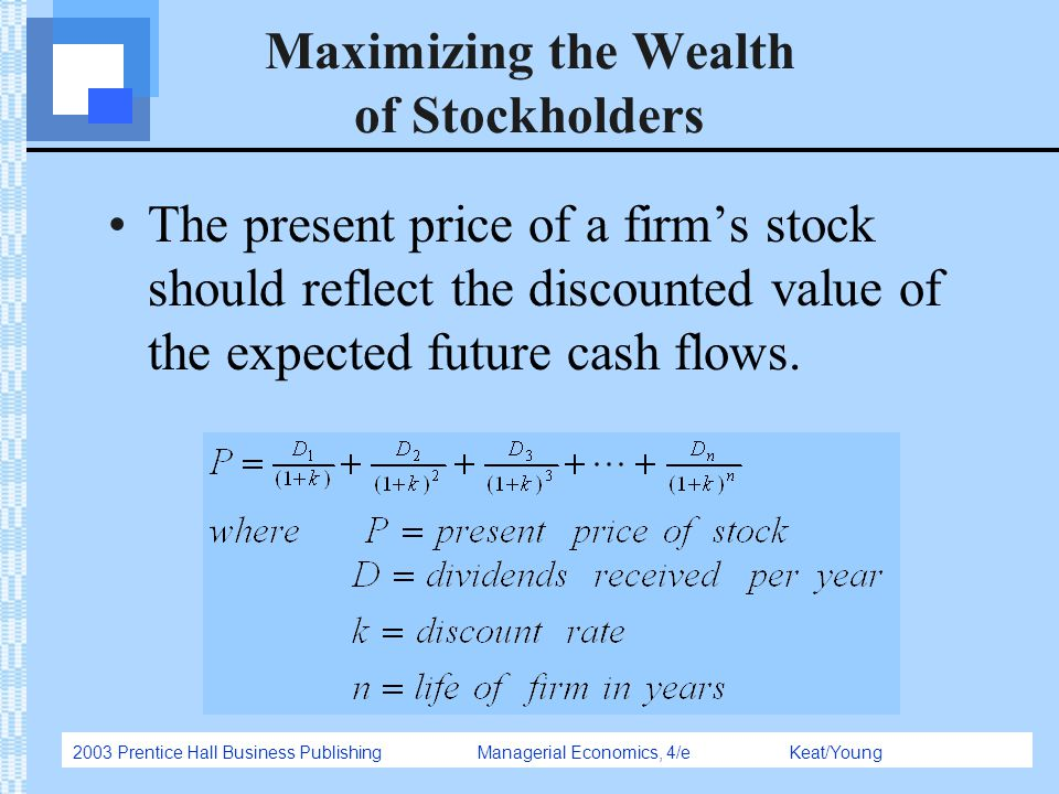 2003 Prentice Hall Business Publishing Managerial Economics, 4/e Keat/Young Maximizing the Wealth of Stockholders The present price of a firm's stock