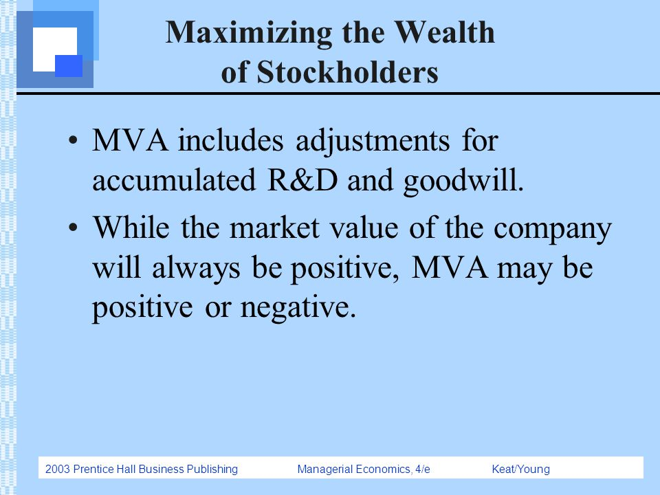 2003 Prentice Hall Business Publishing Managerial Economics, 4/e Keat/Young Maximizing the Wealth of Stockholders MVA includes adjustments for accumul