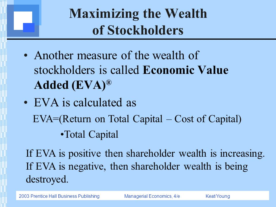 2003 Prentice Hall Business Publishing Managerial Economics, 4/e Keat/Young Maximizing the Wealth of Stockholders Another measure of the wealth of sto