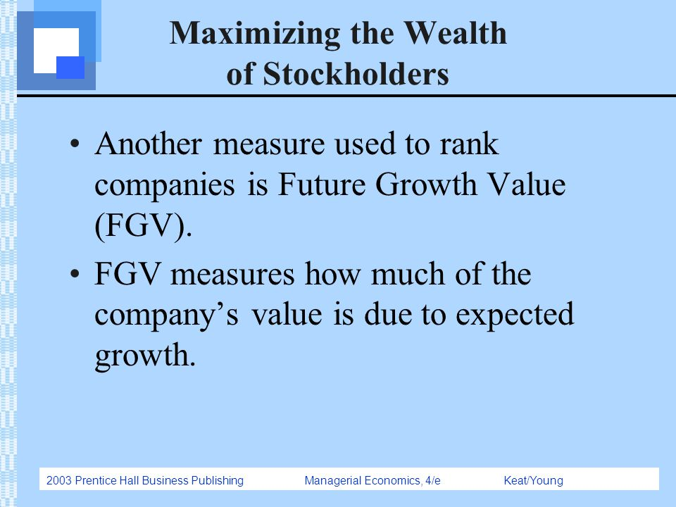 2003 Prentice Hall Business Publishing Managerial Economics, 4/e Keat/Young Maximizing the Wealth of Stockholders Another measure used to rank compani