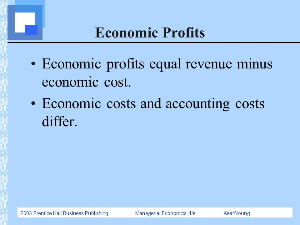 2003 Prentice Hall Business Publishing Managerial Economics, 4/e Keat/Young Economic Profits Economic profits equal revenue minus economic cost. Econo