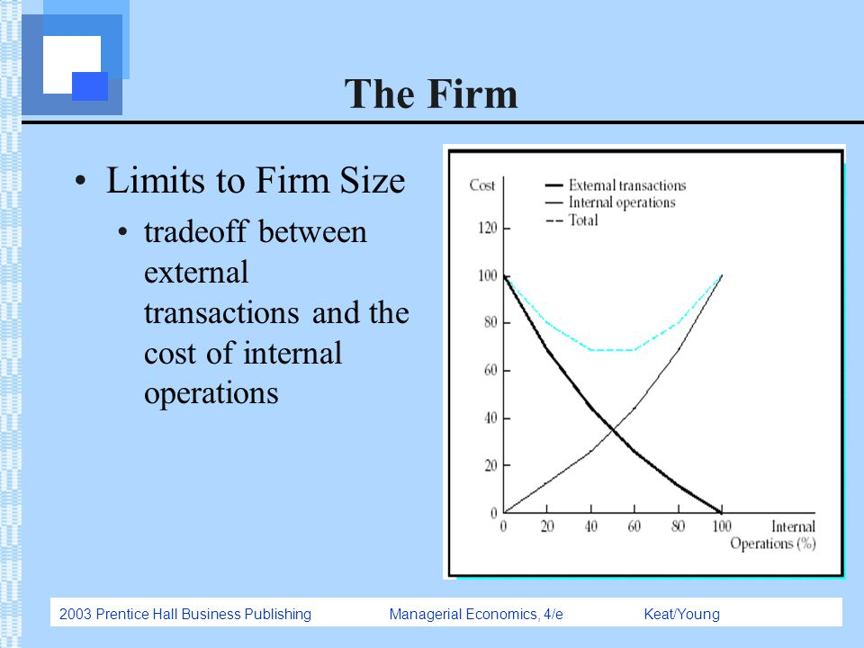 2003 Prentice Hall Business Publishing Managerial Economics, 4/e Keat/Young The Firm Limits to Firm Size tradeoff between external transactions and th