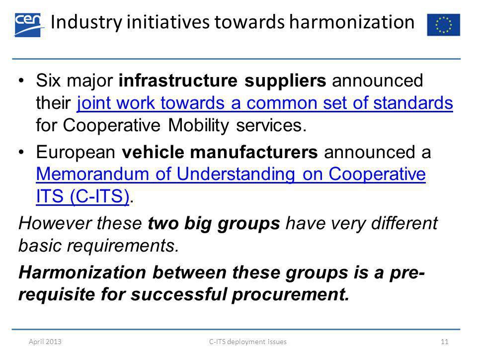 Industry initiatives towards harmonization April 2013C-ITS deployment issues11 Six major infrastructure suppliers announced their joint work towards a common set of standards for Cooperative Mobility services.joint work towards a common set of standards European vehicle manufacturers announced a Memorandum of Understanding on Cooperative ITS (C-ITS).