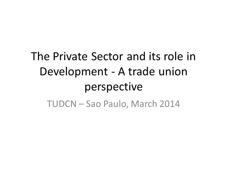 The Private Sector and its role in Development - A trade union perspective TUDCN – Sao Paulo, March 2014