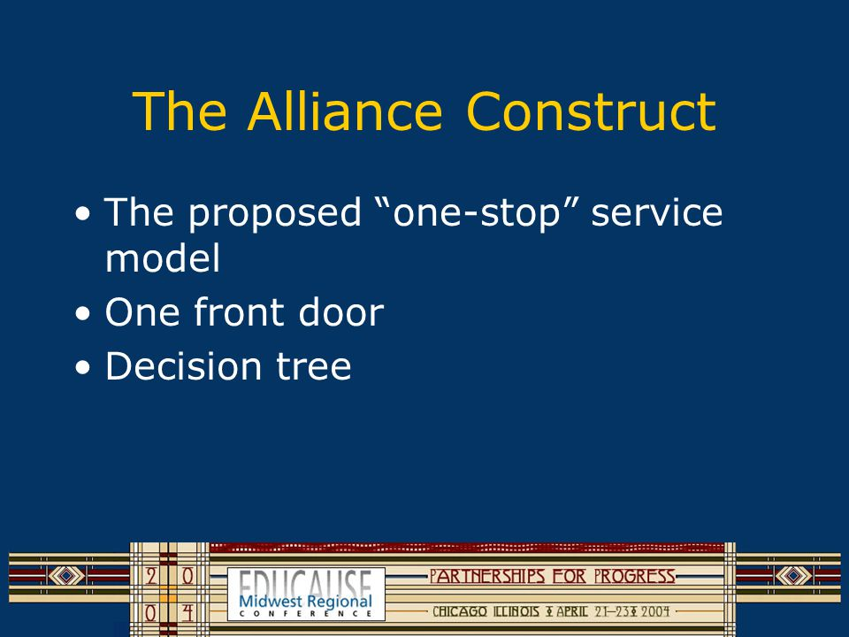 The Alliance Construct The proposed one-stop service model One front door Decision tree