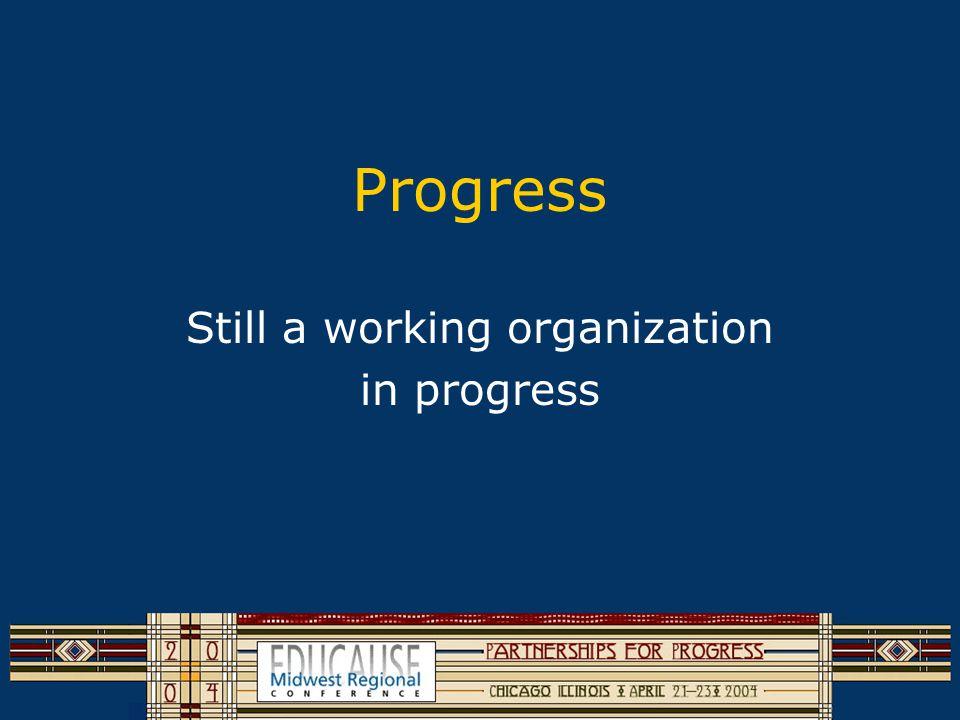 Progress Still a working organization in progress