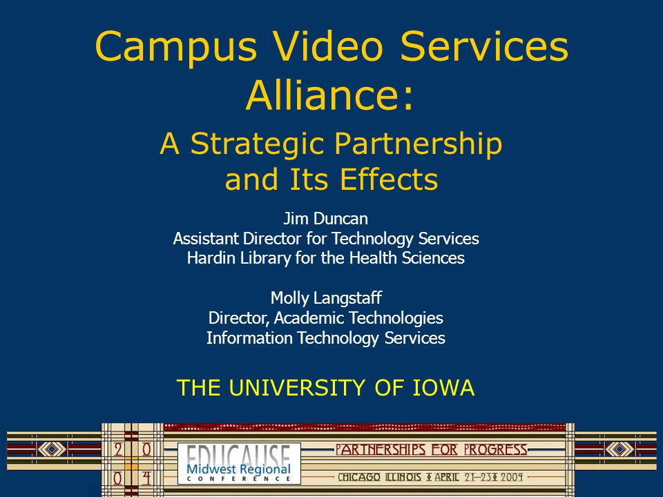 Other Presenters Dan Lind, Director University Video Center Terry Edmonds, Manager ITS Video Services Les Finken, Multi-talented Project Manager Academic Technologies