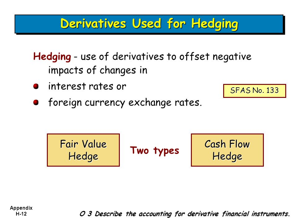 Appendix H-12 Two types Hedging - use of derivatives to offset negative impacts of changes in interest rates or foreign currency exchange rates. O 3 D