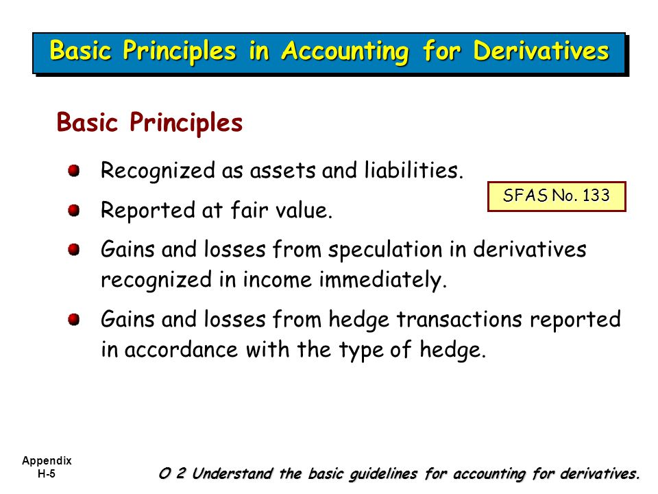 Appendix H-5 O 2 Understand the basic guidelines for accounting for derivatives. Recognized as assets and liabilities. Reported at fair value. Gains a
