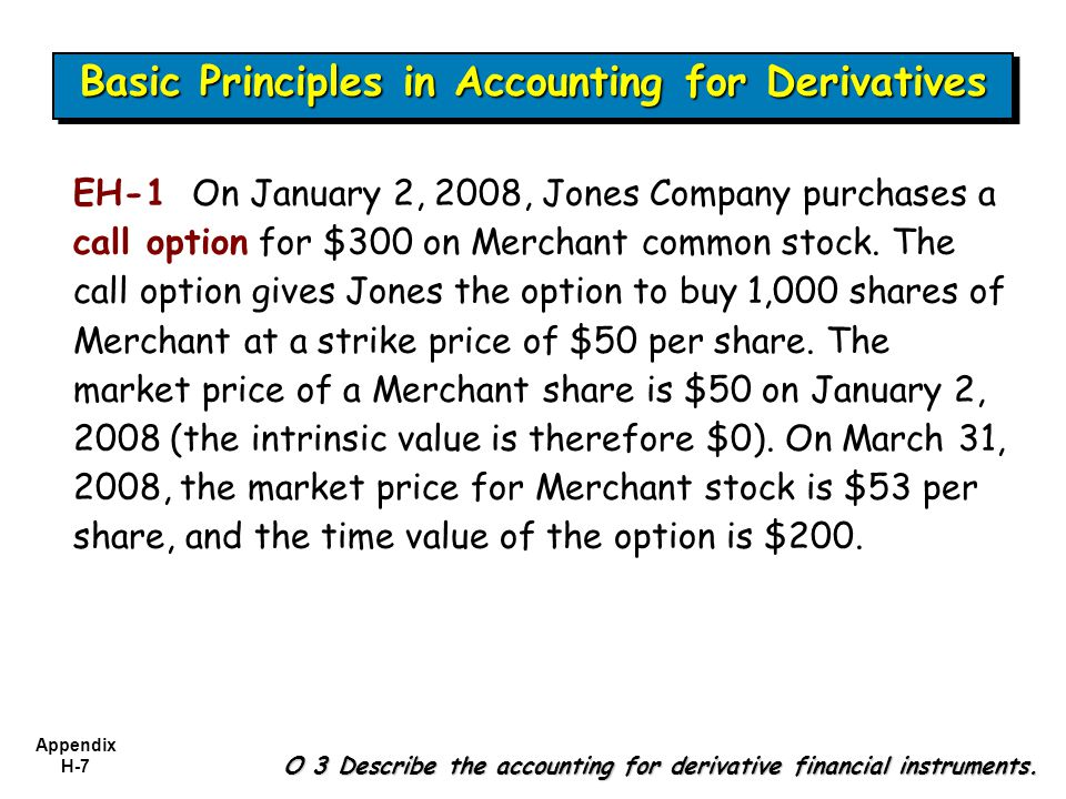 Appendix H-7 EH-1 On January 2, 2008, Jones Company purchases a call option for $300 on Merchant common stock. The call option gives Jones the option