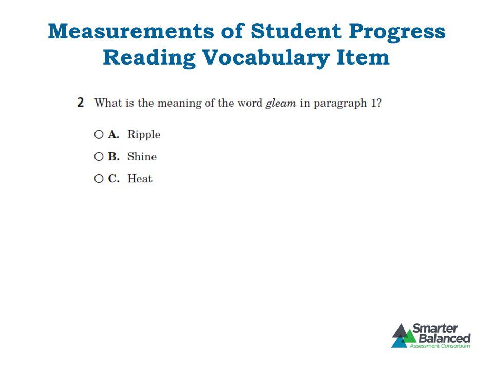 Measurements of Student Progress Reading Vocabulary Item
