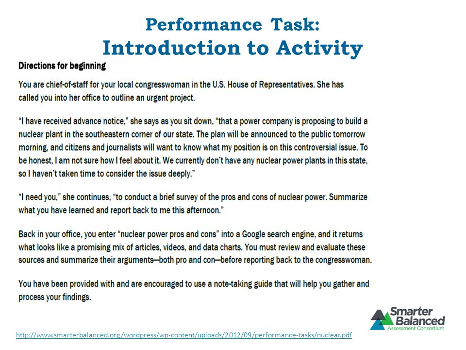 Performance Task: Introduction to Activity http://www.smarterbalanced.org/wordpress/wp-content/uploads/2012/09/performance-tasks/nuclear.pdf