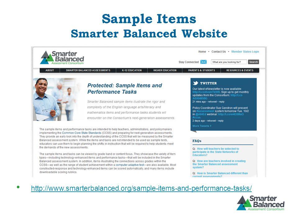 Sample Items Smarter Balanced Website http://www.smarterbalanced.org/sample-items-and-performance-tasks/