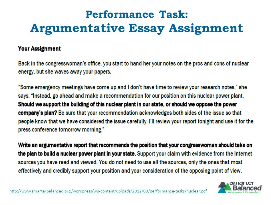 Performance Task: Argumentative Essay Assignment