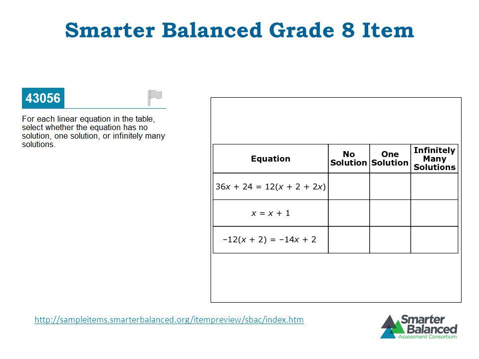 Smarter Balanced Grade 8 Item http://sampleitems.smarterbalanced.org/itempreview/sbac/index.htm
