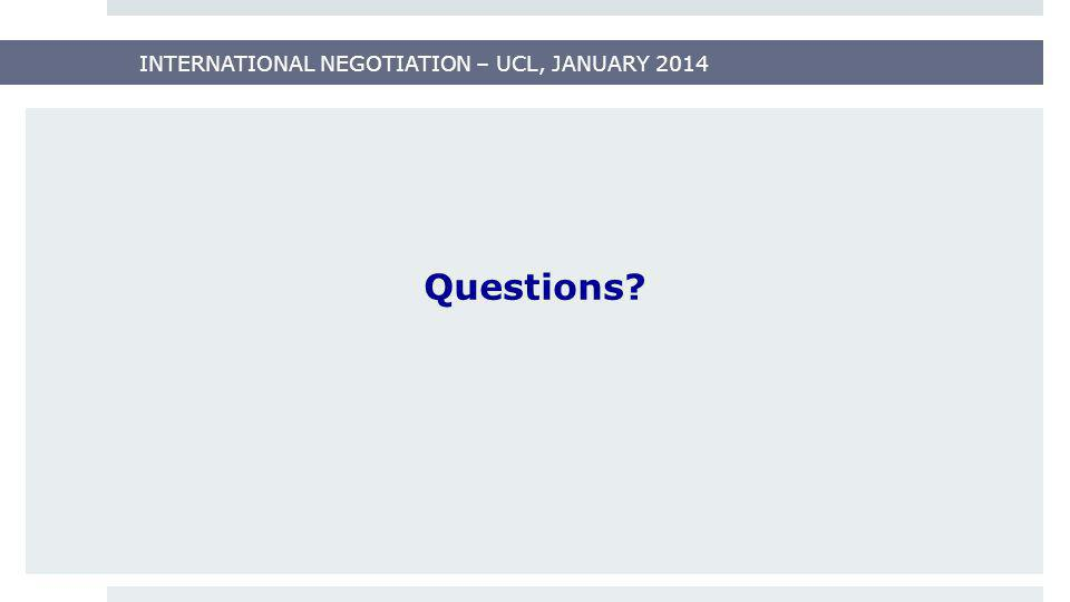 INTERNATIONAL NEGOTIATION – UCL, JANUARY 2014 Questions?