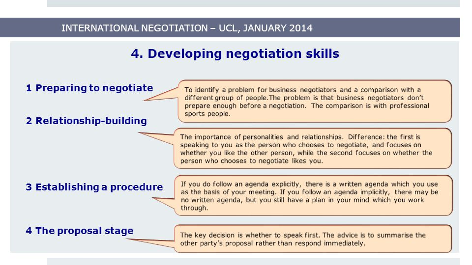 INTERNATIONAL NEGOTIATION – UCL, JANUARY 2014 Types of negotiations 1.Distributive negotiation 2.Integrative negotiation Most business negotiations combine elements of both types