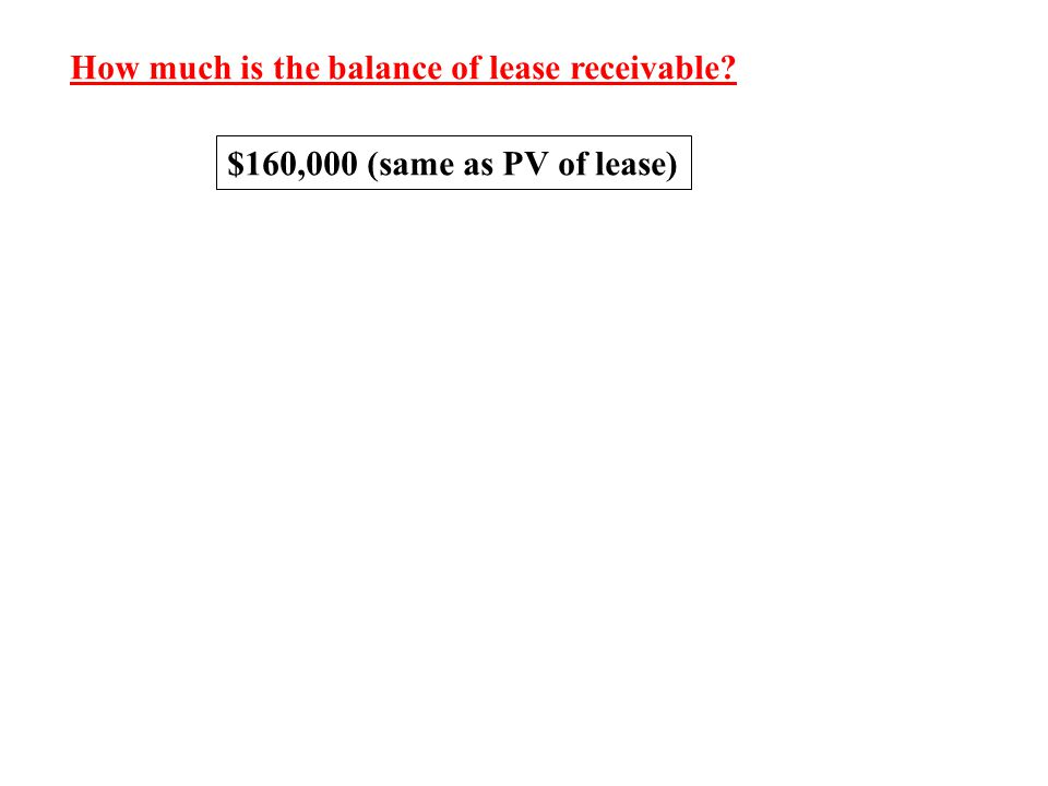 How much is the balance of lease receivable? $160,000 (same as PV of lease)