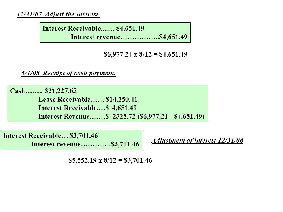12/31/07Adjust the interest. Interest Receivable....… $4,651.49 Interest revenue……………..$4,651.49 $6,977.24 x 8/12 = $4,651.49 5/1/08 Receipt of cash p