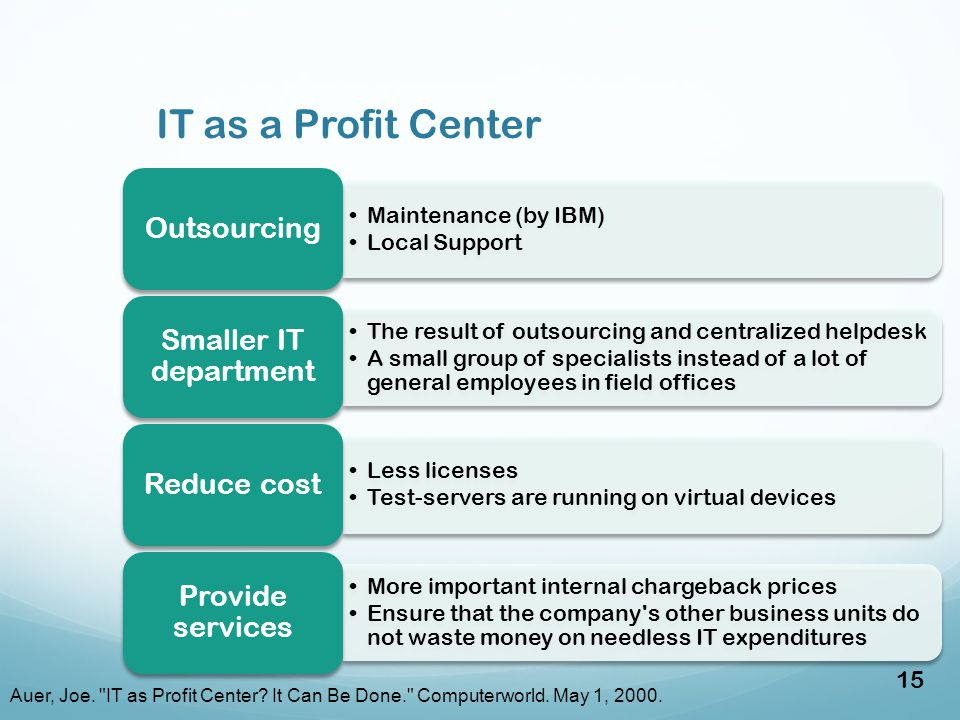 IT as a Profit Center Maintenance (by IBM) Local Support Outsourcing The result of outsourcing and centralized helpdesk A small group of specialists instead of a lot of general employees in field offices Smaller IT department Less licenses Test-servers are running on virtual devices Reduce cost More important internal chargeback prices Ensure that the company s other business units do not waste money on needless IT expenditures Provide services Auer, Joe.