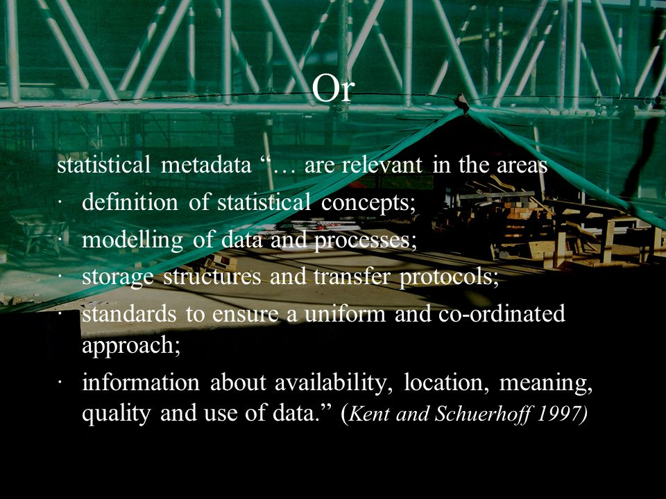 January 2004Simon Musgrave RSS/ASC Alternative Views Typically our understanding of data and metadata systems reflect our own priorities and goals, which may have a creation, storage or usage bias Within the recent EC Metanet project Grossman has defined the United Metadata Architecture for Statistics (UMAS) which seeks to 'Define a framework to understand communalities and differences of Data / Metadata Models from a statistical point of view, irrespective of the terminology and goals of the specific models'.