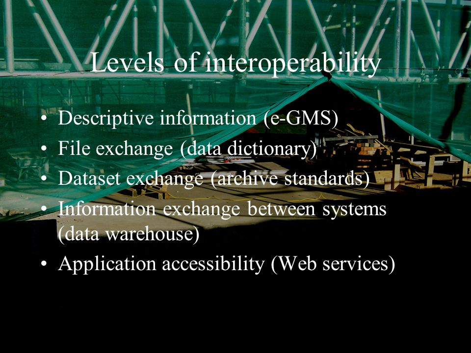 January 2004Simon Musgrave RSS/ASC Levels of interoperability Descriptive information (e-GMS) File exchange (data dictionary) Dataset exchange (archive standards) Information exchange between systems (data warehouse) Application accessibility (Web services)