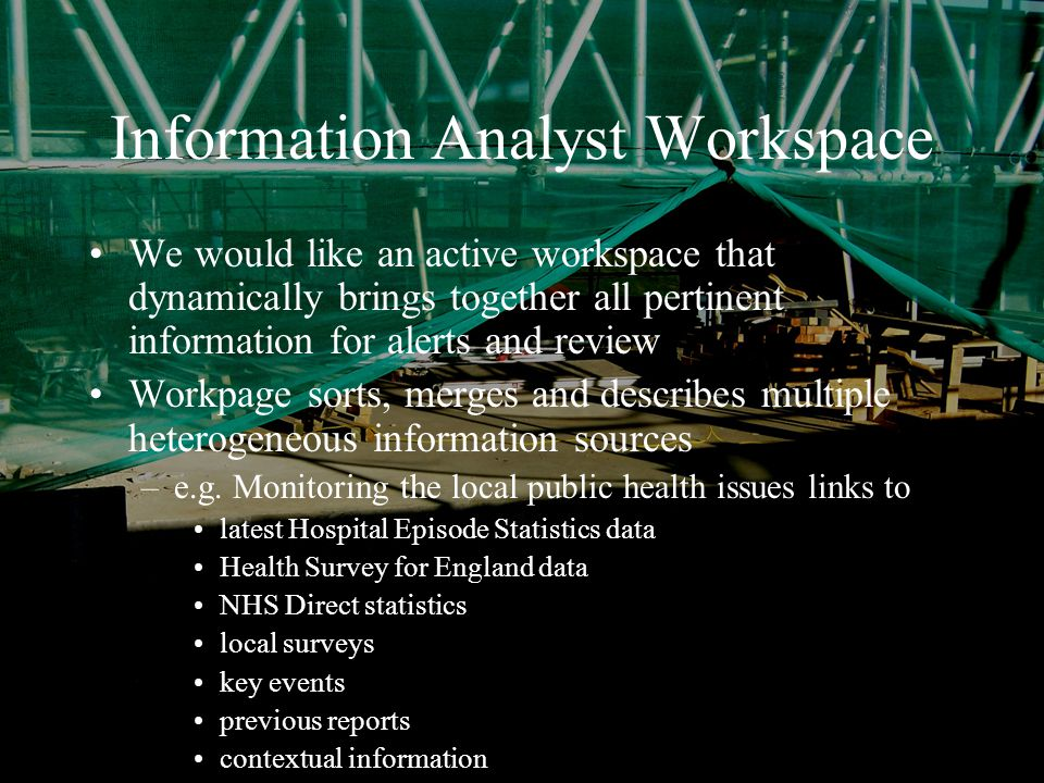 January 2004Simon Musgrave RSS/ASC Information Analyst Workspace We would like an active workspace that dynamically brings together all pertinent information for alerts and review Workpage sorts, merges and describes multiple heterogeneous information sources –e.g.