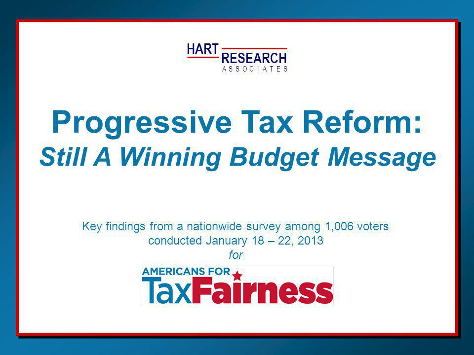 Progressive Tax Policy: A Winning Budget Message—January 2013—Hart Research for 2 The richest 2% Large corporations The middle class April 2012 70% 18% 6% 66% 18% 6% 7% 55% 34% Should pay MORE in taxesPay the right amount in taxesShould pay LESS in taxes Voters Still Want Top 2% To Pay More Taxes