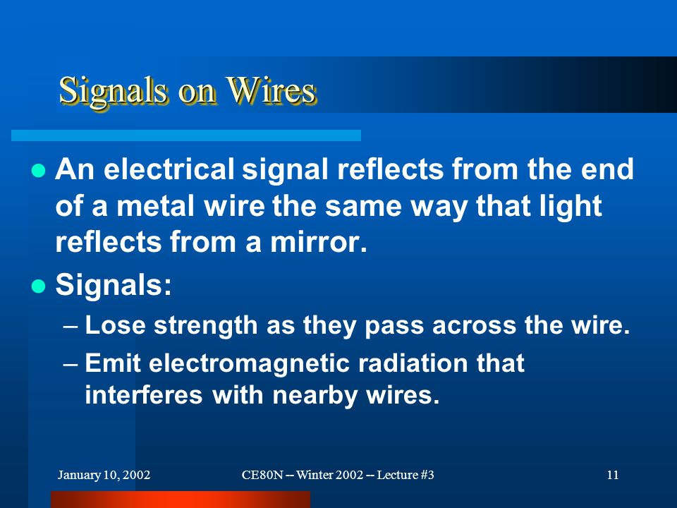 January 10, 2002CE80N -- Winter 2002 -- Lecture #311 Signals on Wires An electrical signal reflects from the end of a metal wire the same way that light reflects from a mirror.