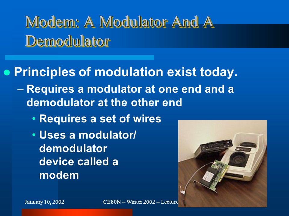January 10, 2002CE80N -- Winter 2002 -- Lecture #315 Modem: A Modulator And A Demodulator Principles of modulation exist today.
