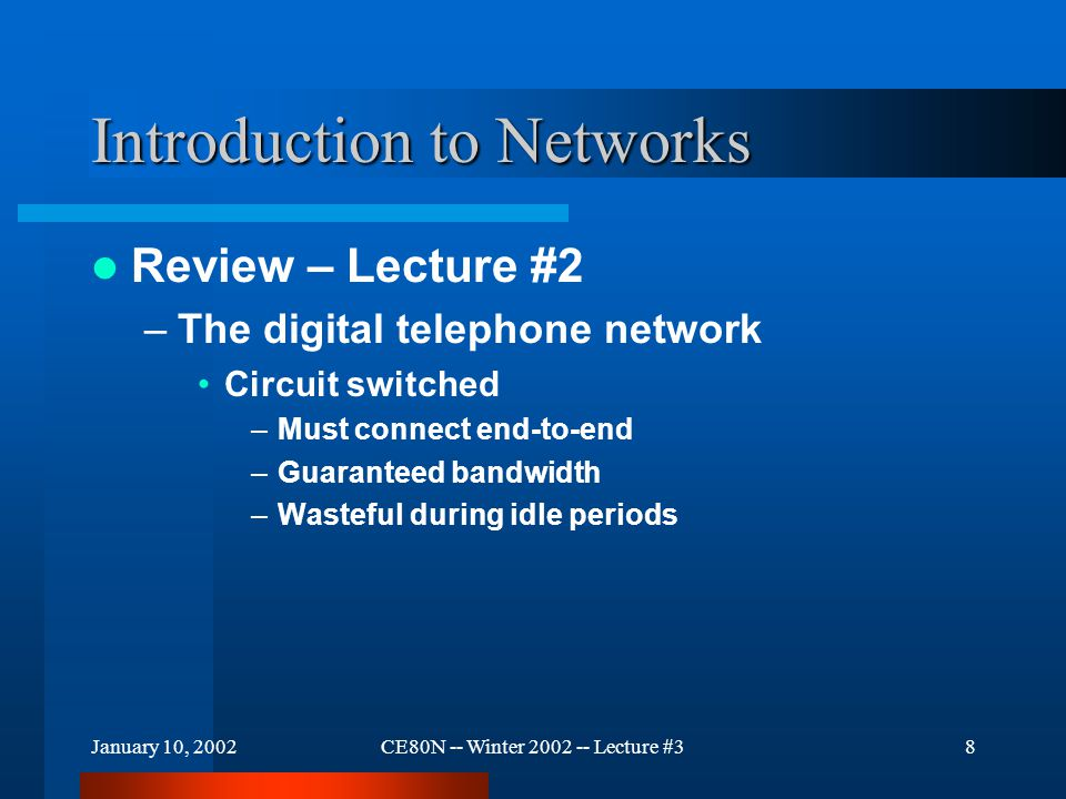 January 10, 2002CE80N -- Winter 2002 -- Lecture #329 Introduction to Networks Connecting Computers –Example: Thin Net (Ethernet) Computer A Computer CComputer B LAN Hub Terminator