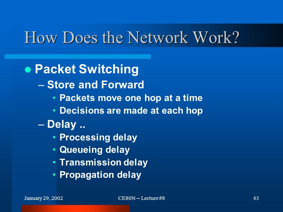 January 29, 2002CE80N -- Lecture #843 How Does the Network Work.