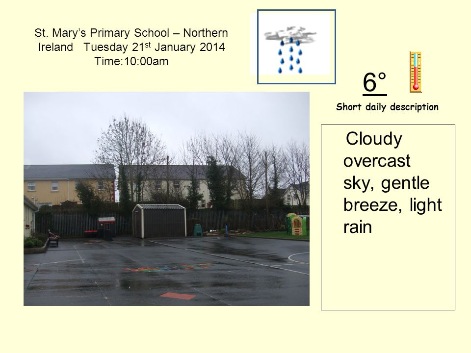 St. Mary's Primary School – Northern Ireland Tuesday 21 st January 2014 Time:10:00am Short daily description 6° Cloudy overcast sky, gentle breeze, li