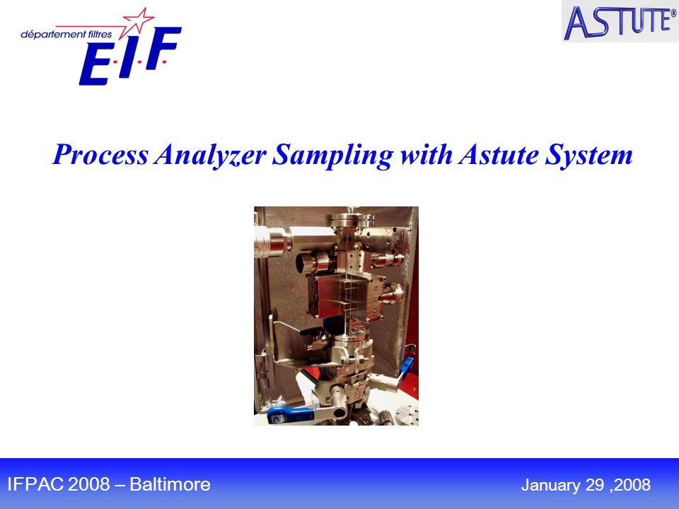 Process Analyzer Sampling with Astute System IFPAC 2008 – Baltimore January 29,2008