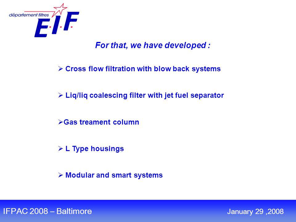 TM Gazoline treatment Séparator Coalescing housing IFPAC 2008 – Baltimore January 29,2008