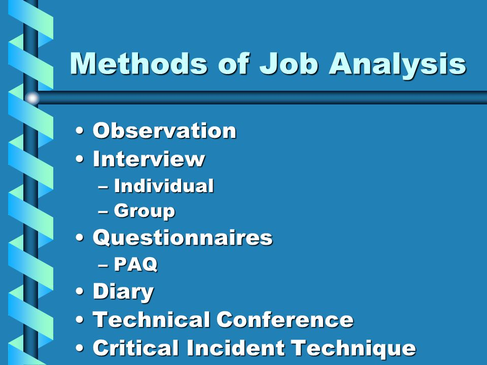 Methods of Job Analysis ObservationObservation InterviewInterview –Individual –Group QuestionnairesQuestionnaires –PAQ DiaryDiary Technical ConferenceTechnical Conference Critical Incident TechniqueCritical Incident Technique