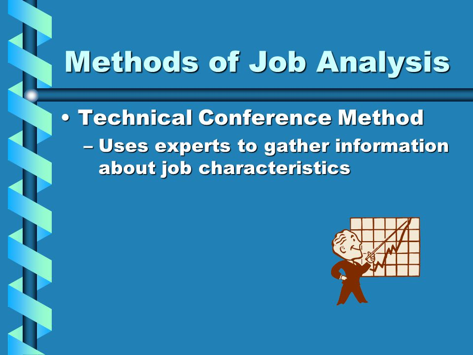 Methods of Job Analysis Technical Conference MethodTechnical Conference Method –Uses experts to gather information about job characteristics