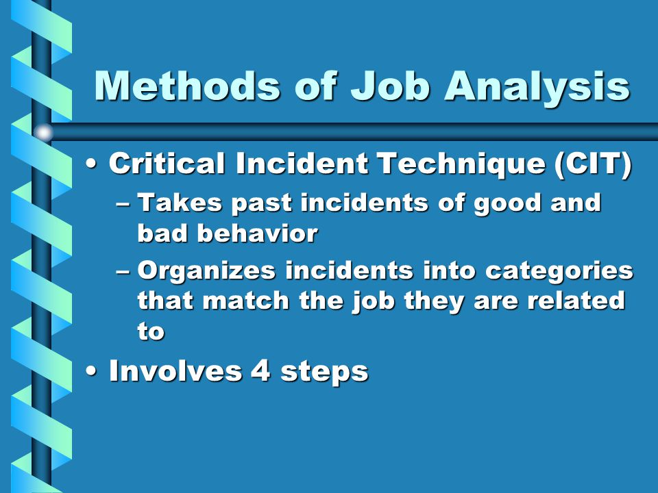 Methods of Job Analysis Critical Incident Technique (CIT)Critical Incident Technique (CIT) –Takes past incidents of good and bad behavior –Organizes incidents into categories that match the job they are related to Involves 4 stepsInvolves 4 steps