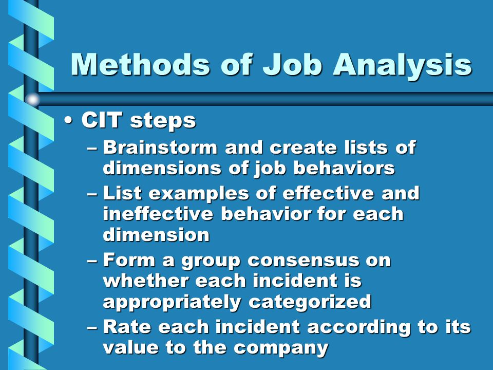 Methods of Job Analysis CIT stepsCIT steps –Brainstorm and create lists of dimensions of job behaviors –List examples of effective and ineffective behavior for each dimension –Form a group consensus on whether each incident is appropriately categorized –Rate each incident according to its value to the company