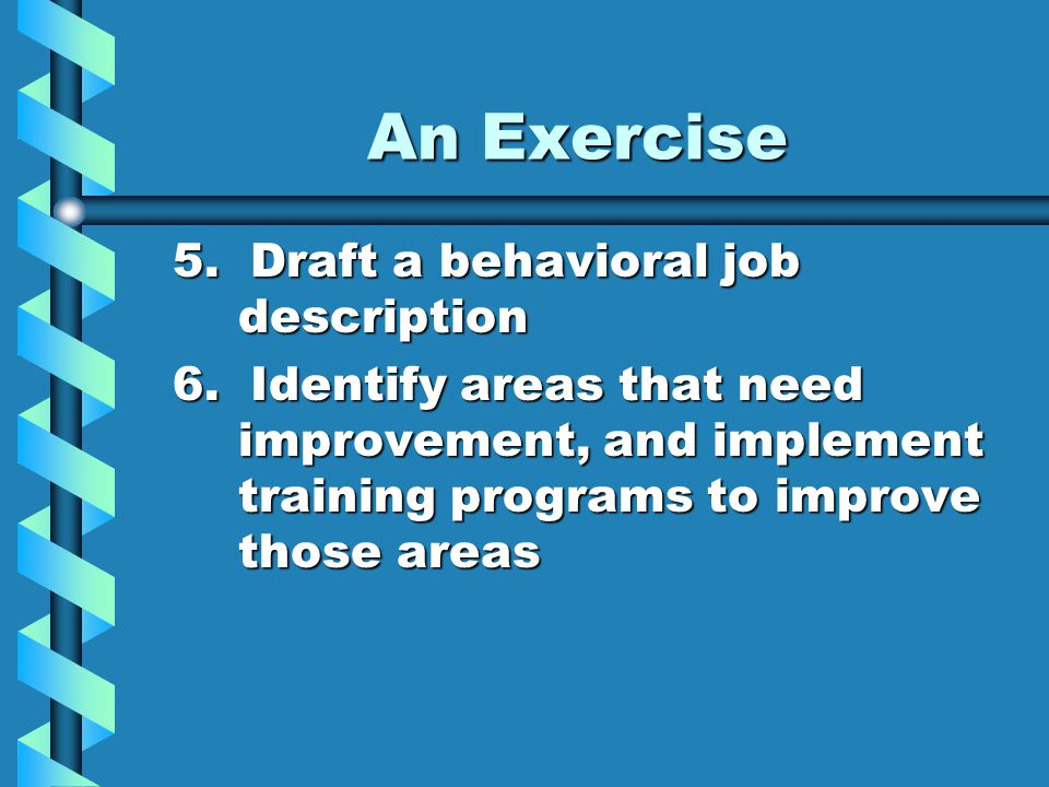 An Exercise 5. Draft a behavioral job description 6.