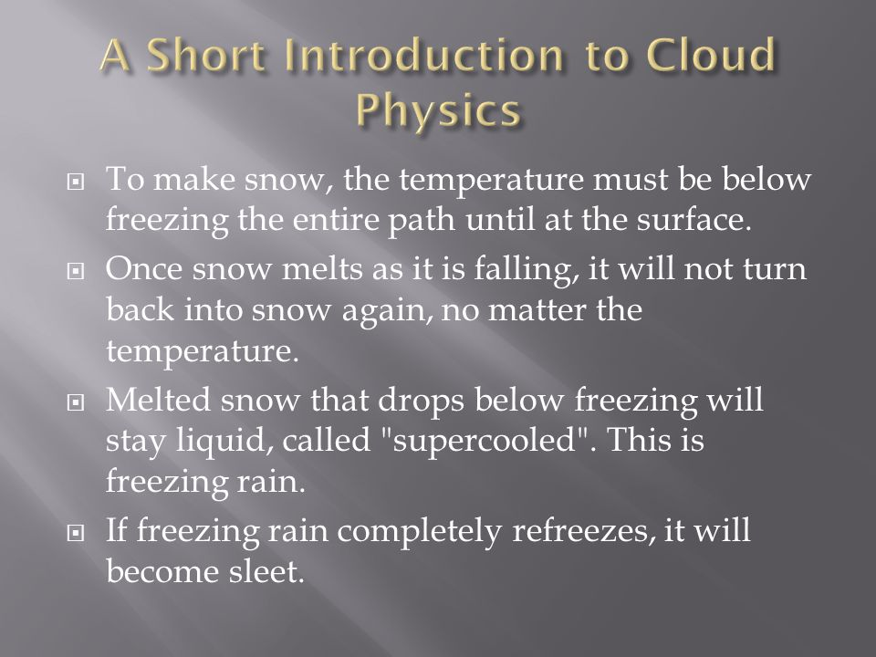  To make snow, the temperature must be below freezing the entire path until at the surface.  Once snow melts as it is falling, it will not turn back