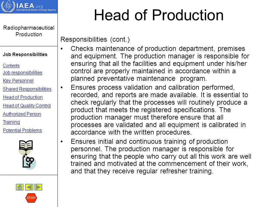 Radiopharmaceutical Production Job Responsibilities Contents Job responsibilities Key Personnel Shared Responsibilities Head of Production Head of Quality Control Authorized Person Training Potential Problems STOP Head of Quality Control Responsibilities: Approval or rejection of materials, e.g.