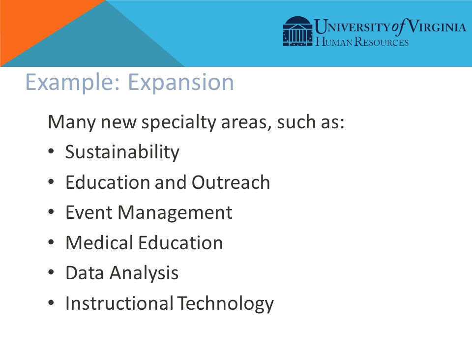 Example: Expansion Many new specialty areas, such as: Sustainability Education and Outreach Event Management Medical Education Data Analysis Instructional Technology