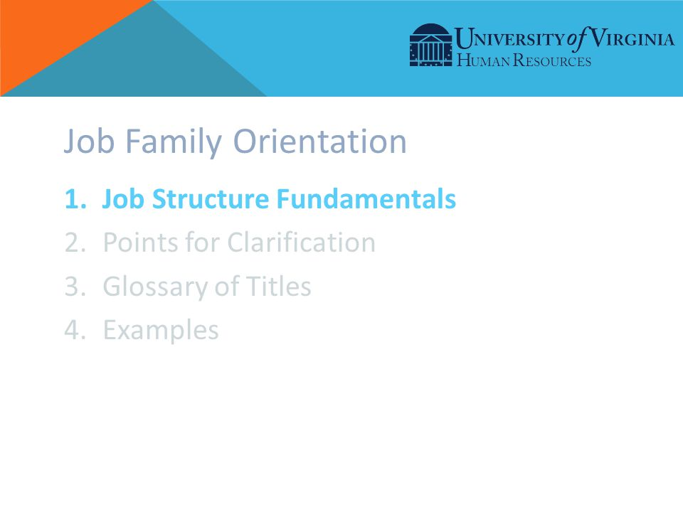 Job Family Orientation 1.Job Structure Fundamentals 2.Points for Clarification 3.Glossary of Titles 4.Examples
