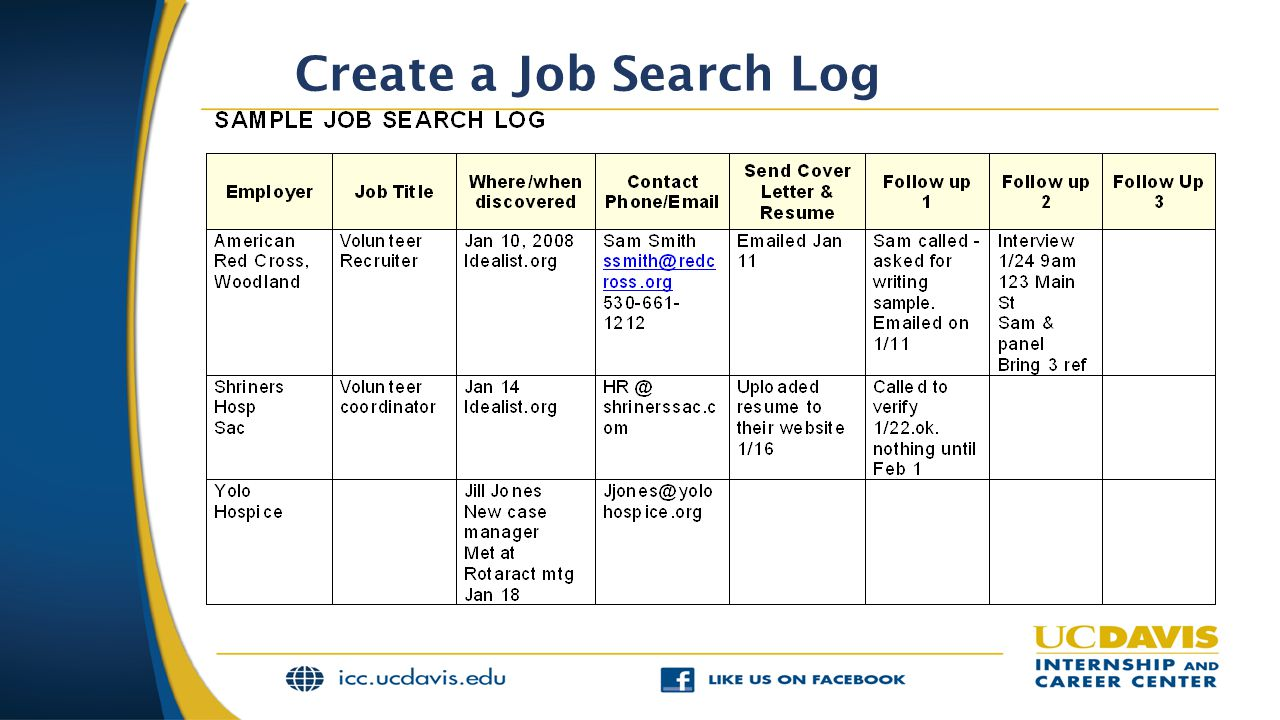 Create a Job Search Log