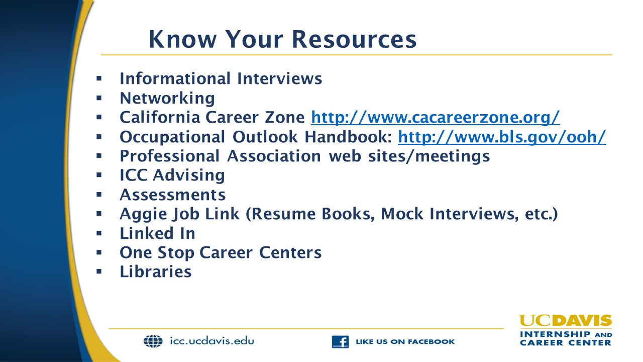 Know Your Resources  Informational Interviews  Networking  California Career Zone http://www.cacareerzone.org/http://www.cacareerzone.org/  Occupational Outlook Handbook: http://www.bls.gov/ooh/http://www.bls.gov/ooh/  Professional Association web sites/meetings  ICC Advising  Assessments  Aggie Job Link (Resume Books, Mock Interviews, etc.)  Linked In  One Stop Career Centers  Libraries