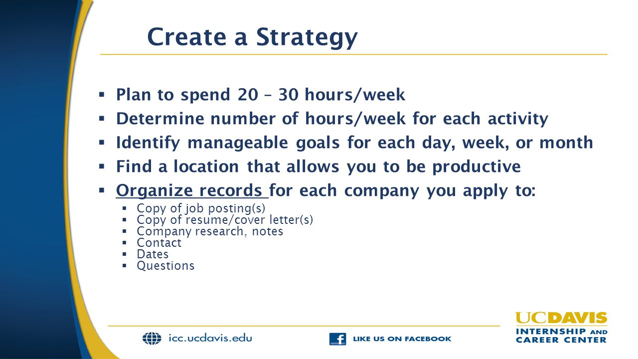 Create a Strategy  Plan to spend 20 – 30 hours/week  Determine number of hours/week for each activity  Identify manageable goals for each day, week, or month  Find a location that allows you to be productive  Organize records for each company you apply to:  Copy of job posting(s)  Copy of resume/cover letter(s)  Company research, notes  Contact  Dates  Questions
