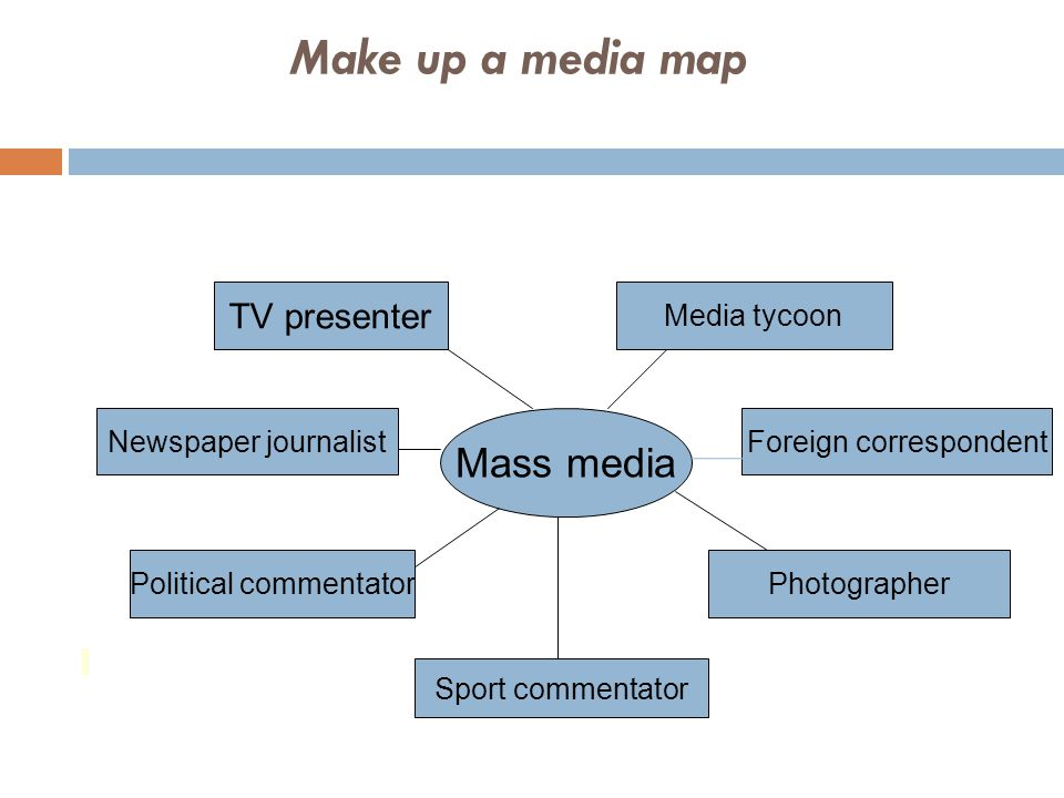 Mass media TV presenter Newspaper journalist Political commentator Sport commentator Media tycoon Foreign correspondent Photographer Make up a media m