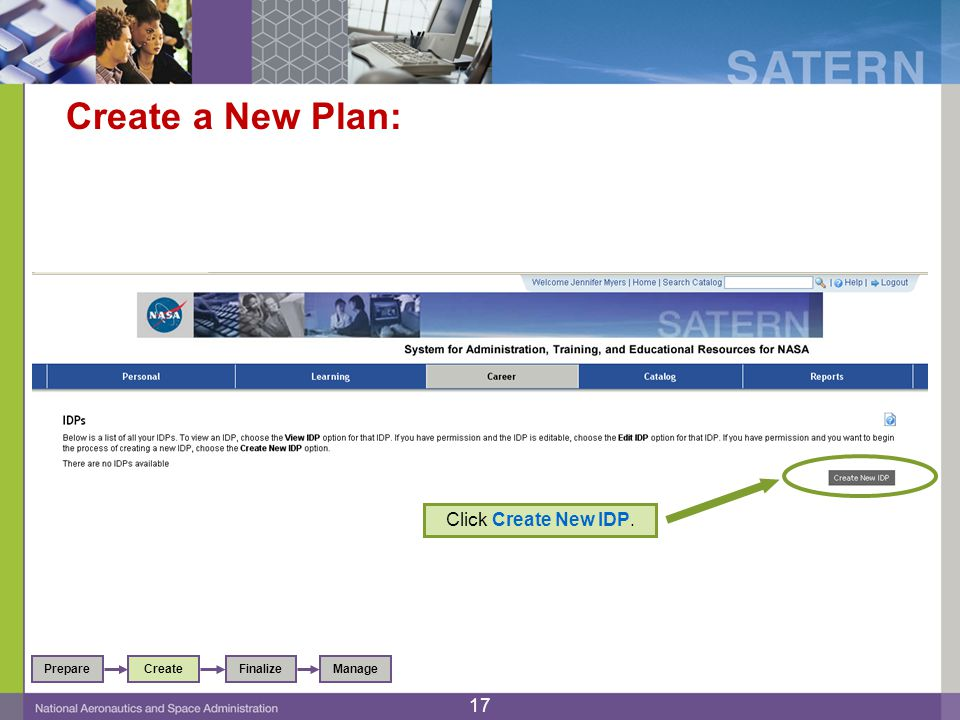 Create a New Plan: Click Create New IDP. PrepareFinalizeCreateManage 17