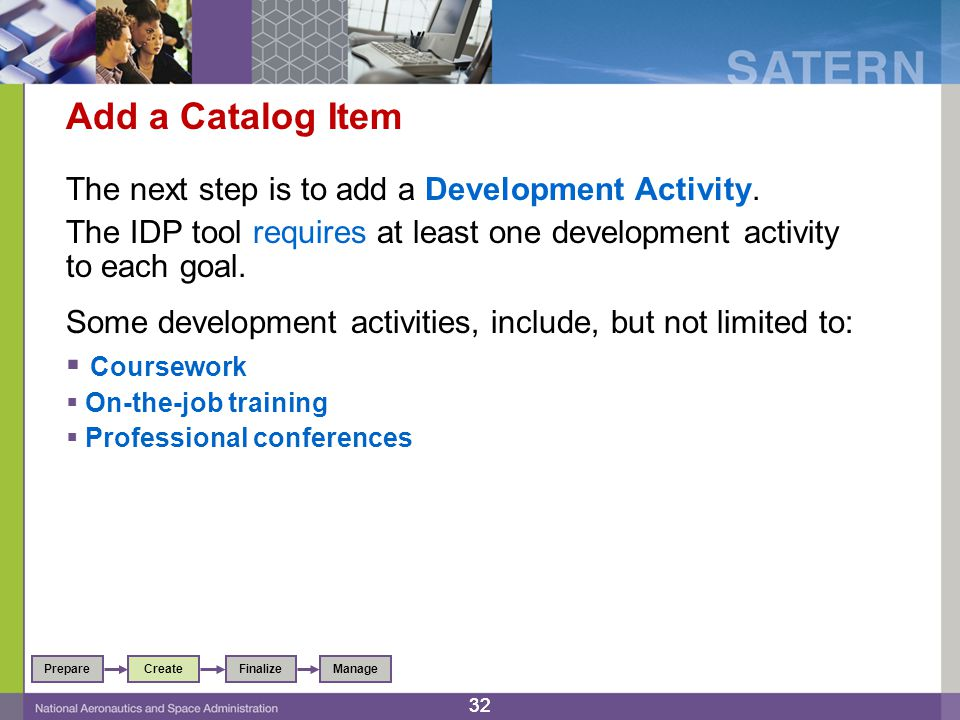 32 Add a Catalog Item The next step is to add a Development Activity.
